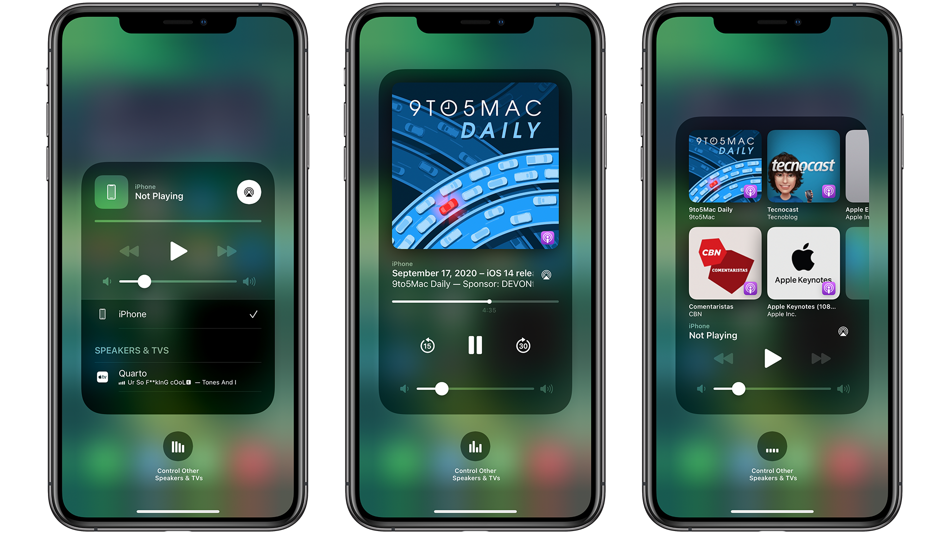 media playback section in Control Center in iOS 14.2 beta
